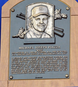 KYLE MENNIG - ONEIDA DAILY DISPATCH Mike Piazza's National Baseball Hall of Fame plaque.