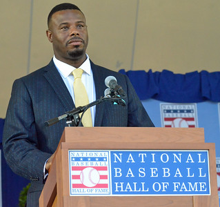 KYLE MENNIG - ONEIDA DAILY DISPATCH Ken Griffey Jr. gives his speech at the National Baseball Hall of Fame Induction Ceremony in Cooperstown on Sunday, July 24, 2016.