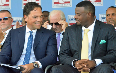 KYLE MENNIG - ONEIDA DAILY DISPATCH Mike Piazza, left, and Ken Griffey Jr. sit on stage before their speeches at the National Baseball Hall of Fame Induction Ceremony in Cooperstown on Sunday, July 24, 2016.
