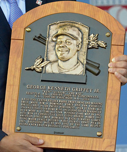 KYLE MENNIG - ONEIDA DAILY DISPATCH Ken Griffey Jr.'s National Baseball Hall of Fame plaque.