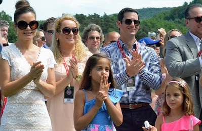 KYLE MENNIG - ONEIDA DAILY DISPATCH Mike Piazza's wife and daughters applaud during his speech at the National Baseball Hall of Fame Induction Ceremony in Cooperstown on Sunday, July 24, 2016.
