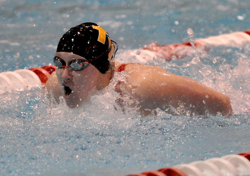 Thompson Valley's Sophie Kubik swimns the butterfly portion of her 200 IM during the Northern Conference Championships on Saturday Feb. 3, 2018 at the VMAC in Thornton. (Cris Tiller / Loveland Reporter-Herald)