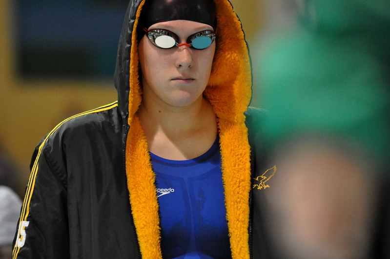 Thompson Valley's Sophie Kubik walks out to intros of the 200 IM with laser focus during the Northern Conference Championships on Saturday Feb. 3, 2018 at the VMAC in Thornton. (Cris Tiller / Loveland Reporter-Herald)
