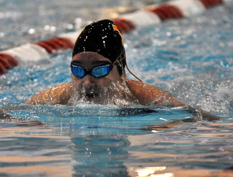 Thompson Valley's Jamie Dellwardt swims the 100-yard breaststroke during the Northern Conference Championships on Saturday Feb. 3, 2018 at the VMAC in Thornton. (Cris Tiller / Loveland Reporter-Herald)
