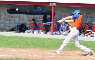 KYLE MENNIG - ONEIDA DAILY DISPATCH Oneida Post's Ty D'Arcangelis connects for a single against Clinton County during their game in the American Legion Junior Baseball state tournament in Rome on Friday, July 29, 2016.