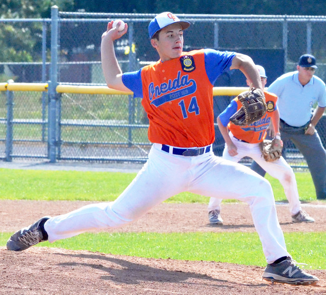 KYLE MENNIG - ONEIDA DAILY DISPATCH Oneida Post's Sam DiGeorge delivers a pitch to a Fort Orange Post batter during their game in the American Legion Junior Baseball state tournament in Rome on Friday, July 29, 2016.