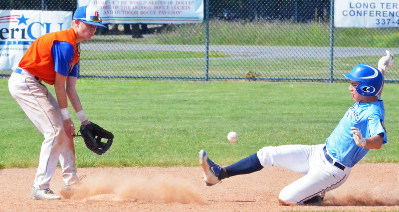 KYLE MENNIG - ONEIDA DAILY DISPATCH Clinton County Jr. Mariner Noah Lederman, right, slides safely into second for a stolen base as Oneida Post's Ty D'Arcangelis fields the throw during their game in the American Legion Junior Baseball state tournament in Rome on Friday, July 29, 2016.