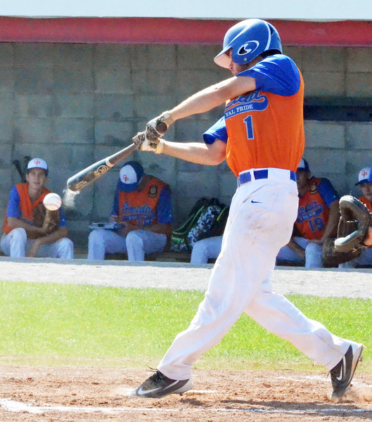 KYLE MENNIG - ONEIDA DAILY DISPATCH Oneida Post's Vinny Leibl hits a ground ball against Fort Orange Post during their game in the American Legion Junior Baseball state tournament in Rome on Friday, July 29, 2016.