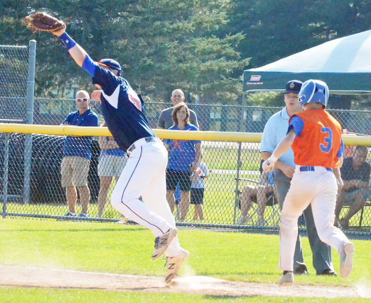 KYLE MENNIG - ONEIDA DAILY DISPATCH Fort Orange Post first baseman Matthew Wilson (44) stretches to catch the ball and force Oneida Post's Ty D'Arcangelis (3) out at first during their game in the American Legion Junior Baseball state tournament in Rome on Friday, July 29, 2016.