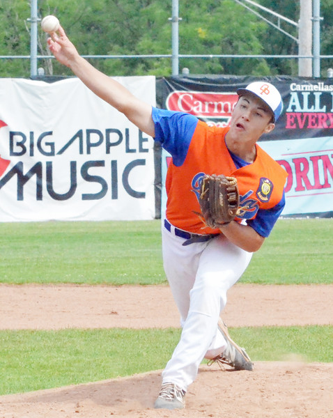 KYLE MENNIG - ONEIDA DAILY DISPATCH Oneida Post's Sam DiGeorge delivers a pitch to a Vestal Post batter during the New York State Junior American Legion Baseball championship game in Utica on Saturday, July 30, 2016.