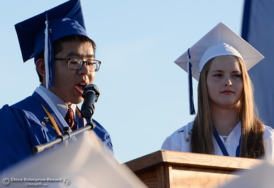 Valedictorians Martin Trang and Taylor Hunt address the crowd as parents and graduates of the class of 2016 celebrate Orland High School's 120th year at Roosevelt Field on the Orland High School campus Friday June 3, 2016. (Bill Husa -- Enterprise-Record)