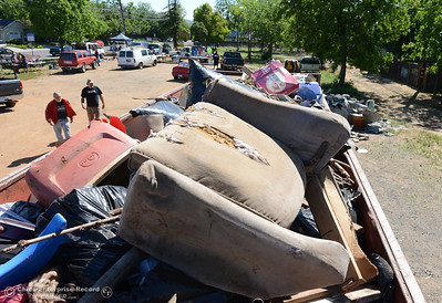 A 40-yard dumpster is full at Myers Steet and Wyandotte Avenue as community members clean the neighborhood Saturday, April 30, 2016, in south Oroville, California. (Dan Reidel -- Enterprise-Record)
