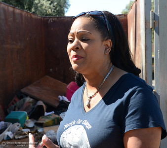 Janet Goodson talks about the South Oroville Community Clean Up as community members clean the neighborhood Saturday, April 30, 2016, in south Oroville, California. (Dan Reidel -- Enterprise-Record)