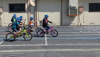 Oakdale Heights School hosts a bike rodeo Friday, April 29, 2016, at the school to teach kids to ride bicycles safely in Oroville, California. (Dan Reidel -- Mercury-Register)