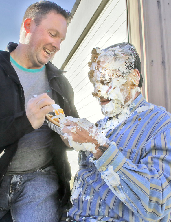 . Shaun Walker � The Times-Standard  McKinleyville Community Services District General Manager Greg Orsini, right, thought he was getting to share a pie as a peace offering from Operations Director James Henry, but then it was shoved into his face like 10 others were on Friday. Employees of MCSD paid $20 each for an opportunity to shove a pie in their boss�s face. All proceeds of the event will go to Toys for Tots. The �sweetie pie� GM challenged other local managers and executives to take one in the face to help support their favorite charity during this holiday season.