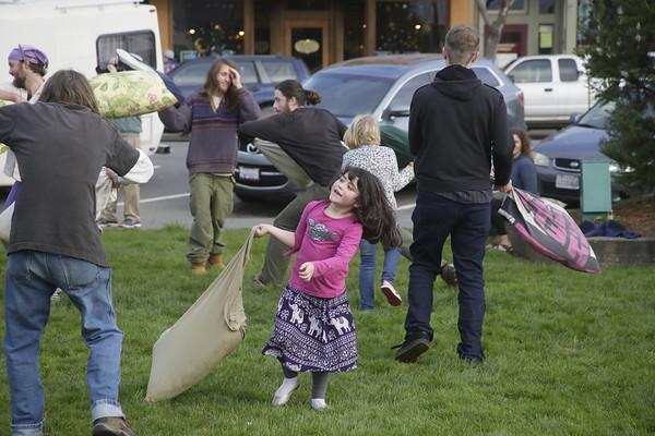 PHOTOS: Pillow Fight on Arcata Plaza