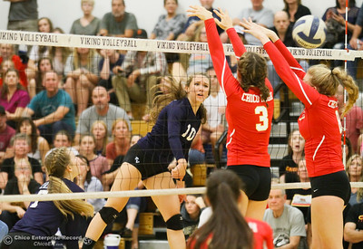 Pleasant Valley's Hannah Pembroke spikes the ball pass Chico's Taylor Hensley (3) and Regan Murray during a volleyball game Thursday October 6, 2016 at Pleasant Valley in Chico, California. The Vikings defeated the Panthers 3-1 in front of a packed house on their home turf. (Emily Bertolino -- Enterprise-Record)