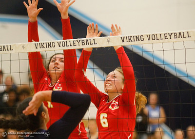 during a volleyball game between Pleasant Valley and Chico High School Thursday October 6, 2016 at Pleasant Valley in Chico, California. (Emily Bertolino -- Enterprise-Record)