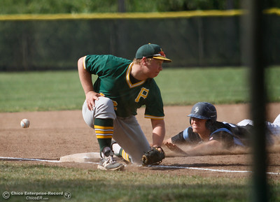 Pleasant Valley's Noah Davis breaks up a potential tag from Paradise third baseman Billy Aiello Tuesday April 19, 2016 at Hooker Oak Park in Chico, Calif. (Emily Bertolino -- Enterprise-Record)