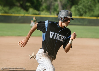 Jaret Flint rounds third to put Pleasant Valley back in front in the third inning 2-1 over Paradise Tuesday April 19, 2016 at Hooker Oak Park in Chico, Calif. (Emily Bertolino -- Enterprise-Record)