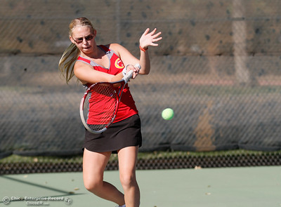Chico High's Tina Laughlin returns Pleasant Valley's Abbey Gassaway's serve during a tennis match September 21, 2016 at the 20th Street Park in Chico, Calif. (Emily Bertolino -- Enterprise-Record)