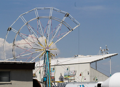 Work continues in preparation for the Silver Dollar Fair Tuesday May 23, 2017 at the Fairgrounds in Chico, California.  (Emily Bertolino -- Enterprise-Record)