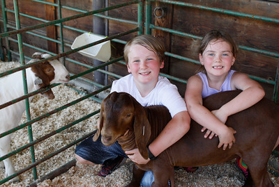 Sean and Holly Hansbrough take a break from preparing Brownie the goat's stall for the Silver Dollar Fair Tuesday May 23, 2017 at the Fairgrounds in Chico, California.  (Emily Bertolino -- Enterprise-Record)