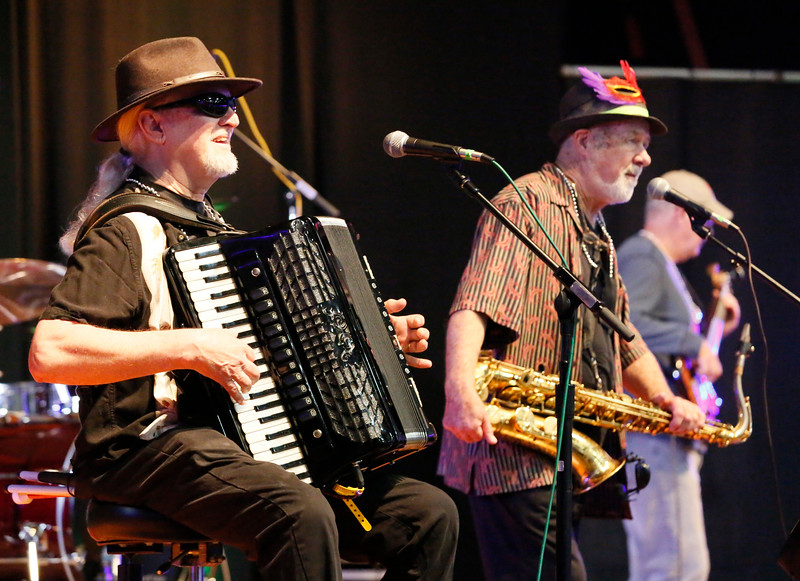 Shaun Walker — The Times-Standard  Gator Nation Band accordion player Dennis Hadley and saxophone player perform in the Eureka Muni at one of two Redwood Coast Music Festival kids concerts on Friday morning. The big annual festival continues today and tomorrow with live music from 35 bands and dancing in six venues in Eureka. Saturday night features a headline performance by Roomful of Blues, a swing dance event, and Old Town Rhythm and Roots in conjunction with Arts Alive! For more information, go to rcmfest.org.