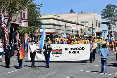 Moms, dads, brothers, sisters, grandpas and grandmas, families, friends and others joined together in large Redwood Pride parade Sunday in Arcata, marching down Ninth Street in Arcata from the Creamery Building to Arcata Plaza. (Jose Quezada — For the Times-Standard)