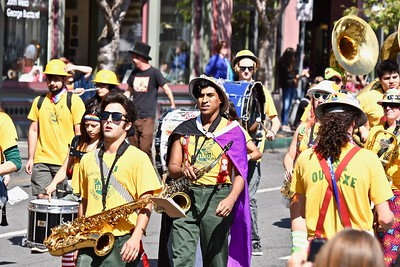 The HSU Marching Lumberjacks pound out righteous rhythms. (Jose Quezada — For the Times-Standard)