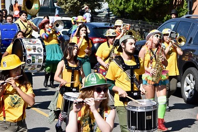 HSU Marching Lumberjacks go down Ninth Street in Arcata. (Jose Quezada — For the Times-Standard)