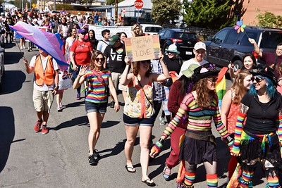 Nothing but messages of love and acceptance for the Redwood Pride 2017 parade. (Jose Quezada — For the Times-Standard)