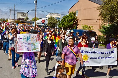 Redwood Pride marchers filled Ninth Street for more than three blocks. (Jose Quezada — For the Times-Standard)