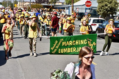 The Humboldt State University Marching Lumberjacks added musical flair to the parade.  (Jose Quezada — For the Times-Standard)