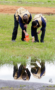 Shaun Walker — The Times-Standard  Dustin Wood, 17, left, and Alex Danfort, 15, of Tule Lake High School Future Farmers of America take measurements during the Redwood Region Logging Conference forestry skills competition at Redwood Acres Fairgrounds in Eureka on Friday. The conference runs through Sunday and also features demonstrations, working historic equipment, a wildlife show, and a lumberjack show. For more information, go to www.rrlc.net.