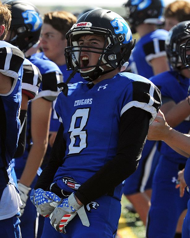 . Resurrection Christian\'s Eddie Lemos celebrates a touchdown by the Cougars during a game against The Classical Academy on Saturday, Sept. 15, 2018 at Loveland Sports Park. (Sean Star/Loveland Reporter-Herald)