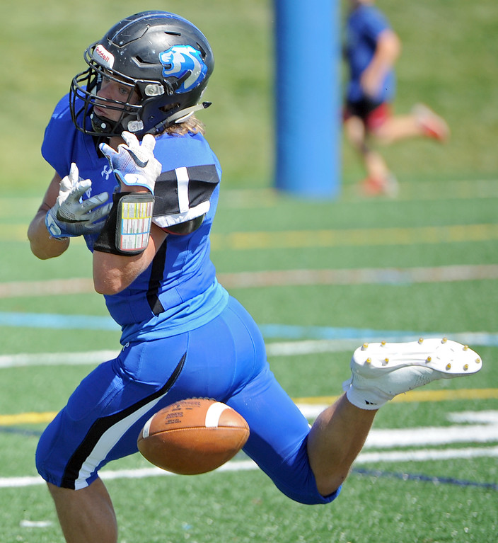 . Resurrection Christian\'s Jackson Lovette can\'t corral a pass during a game against The Classical Academy on Saturday, Sept. 15, 2018 at Loveland Sports Park. (Sean Star/Loveland Reporter-Herald)