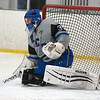 Sam Garland of Resurrection Christian defends his net during the second period of Saturday's game against Cheyenne Mountain High School at NoCo Ice Center in Fort Collins. (Chris Stark / For the Reporter-Herald)
