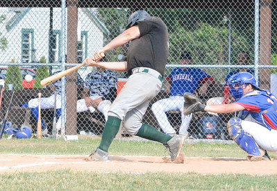 KYLE MENNIG - ONEIDA DAILY DISPATCH  The Sherrill Silversmiths' Ryan Coulon connects for a second-inning single against the Rome Generals in their NYCBL game in Sherrill on Saturday, the Silversmiths final home game of the season.