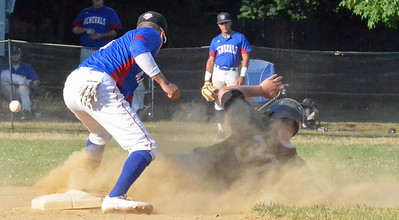 KYLE MENNIG - ONEIDA DAILY DISPATCH Sherrill Silversmith Ryan Coulon (37) slides safely into second to advance on a wild pitch as the ball gets away from Rome Generals shortstop Sergio Osorio (8) during their game in Sherrill on Saturday, July 23, 2016.