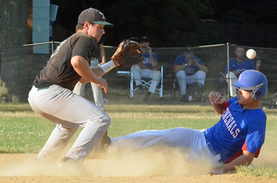 KYLE MENNIG - ONEIDA DAILY DISPATCH Rome General James Park slides safely into second for a stolen base as Sherrill Silversmith Dylan Pounds (3) awaits the throw during their NYCBL game in Sherrill on Saturday, July 23, 2016.