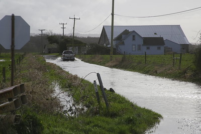 Shaun Walker — The Times-Standard  Hawks Hill Road in Loleta was still flooded on Tuesday afternoon.