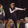 STAN HUDY - SHUDY@DIGITALFIRSTMEDIA.COM<br /> Shenendehowa girls soccer coach Holli Nirsberger talks to her team during halftime of the Section II Class AA final Monday, Oct. 30, 2017.