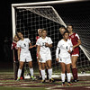 STAN HUDY - SHUDY@DIGITALFIRSTMEDIA.COM<br /> Shenendehowa defenders Jen Kirker (9), Amanda OBrien (23) and Ava Sullivan (4) look for a corner kick late in the second half into the Niskayuna goal during the Section II Class AA final Monday, Oct. 30, 2017.