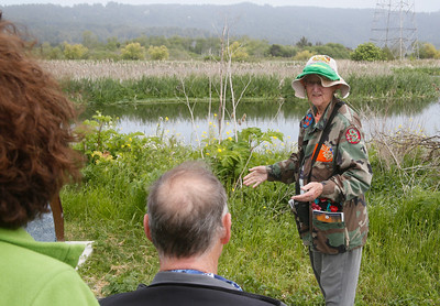 "Shaun Walker — The Times-Standard  Jane Wilson of Arcata, a Friends of the Arcata Marsh board member, leads the ""slower-speed"" tour of the marsh on Tuesday afternoon. The tour is given on the last Tuesday of each month 2 p.m., starting at the first (northernmost) parking lot on I Street. It is geared mostly toward attendees with mobility issues, or participants of all ages who use canes, walkers with a seat, wheelchairs, guide dogs, or those who are unable to keep up on regular walks."