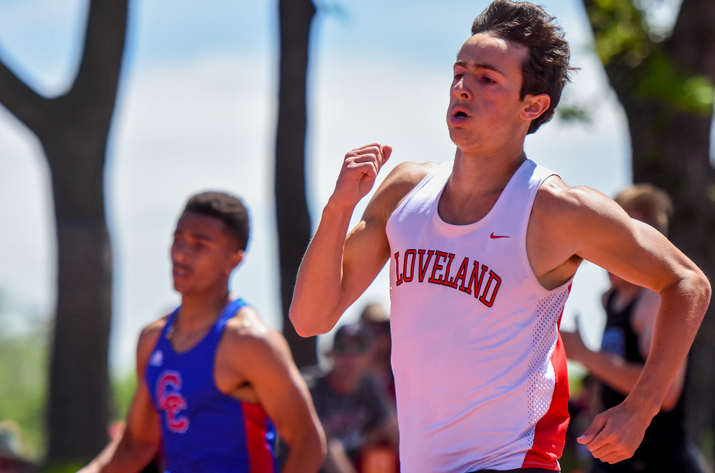 . Loveland\'s Adam Stark runs the 400 meter at the 2018 state track and field meet Thursday May 17, 2018 at Jeffco Stadium in Lakewood. (Cris Tiller / Loveland Reporter-Herald)