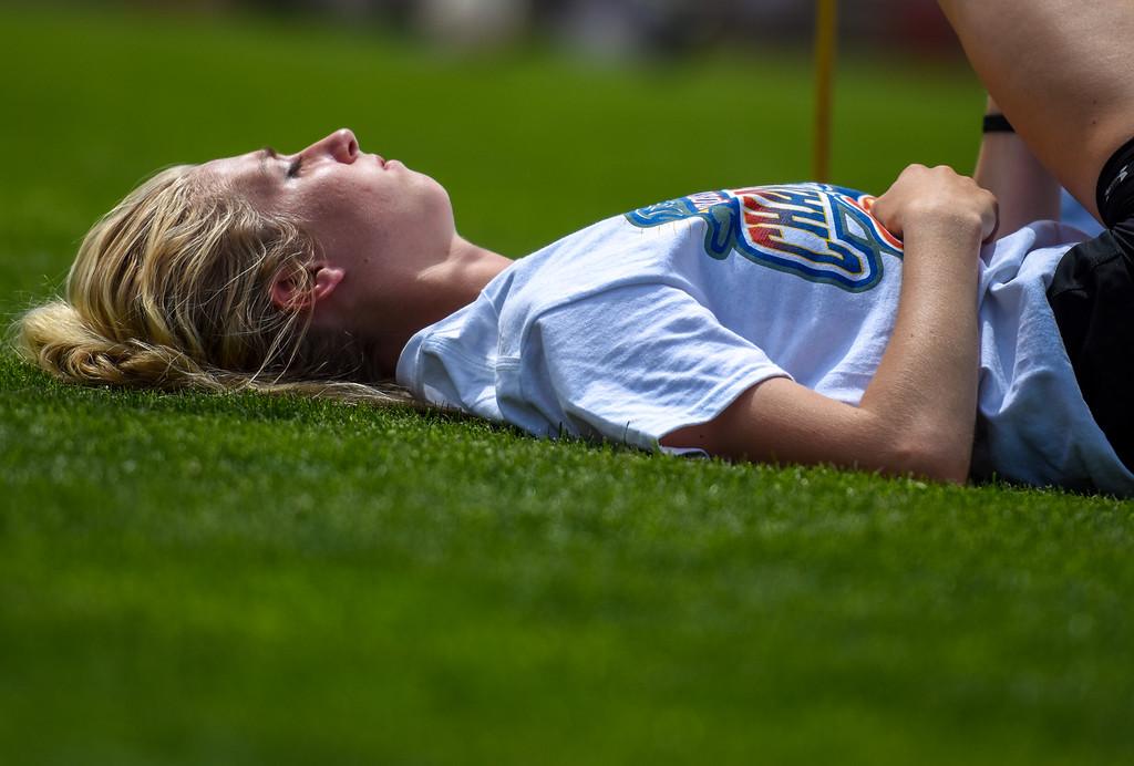 . Berthoud\'s Cailey Archer relaxes before her high jump at the 2018 state track and field meet Thursday May 17, 2018 at Jeffco Stadium in Lakewood. (Cris Tiller / Loveland Reporter-Herald)
