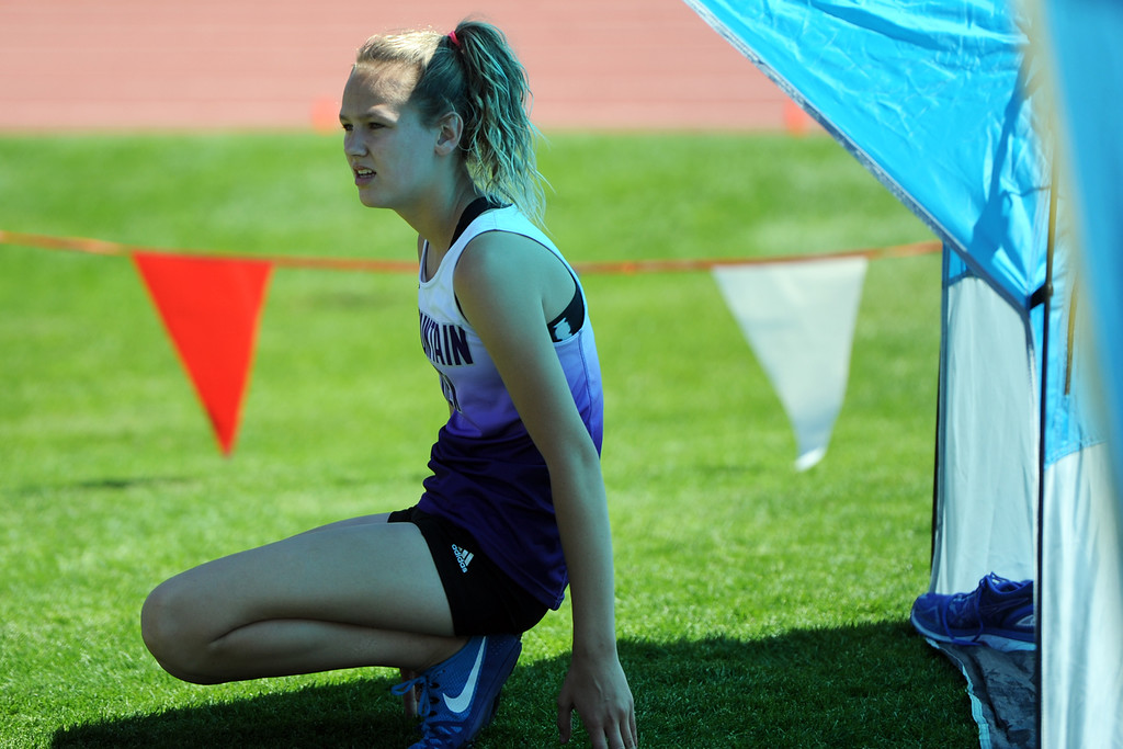 . Mountain View\'s Laurene Powell waits to compete in high jump at the 2018 state track and field meet on Thursday, May 17, 2018 at Jeffco Stadium in Lakewood. (Sean Star/Loveland Reporter-Herald)