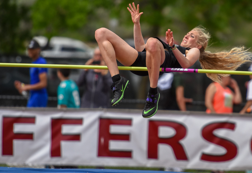 . Berthoud\'s Cailey Archer clears the bar during the high jump competition at the 2018 state track and field meet Thursday May 17, 2018 at Jeffco Stadium in Lakewood. (Cris Tiller / Loveland Reporter-Herald)