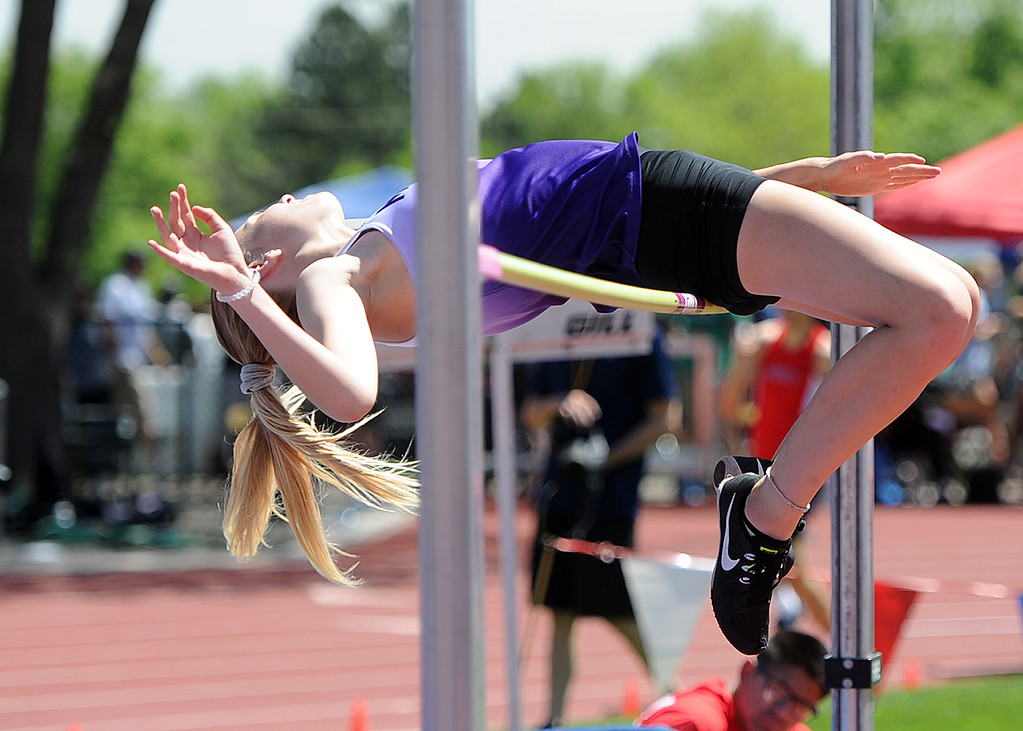 . Mountain View\'s Chloe Miller competes in the high jump at the 2018 state track and field meet on Thursday, May 17, 2018 at Jeffco Stadium in Lakewood. (Sean Star/Loveland Reporter-Herald)